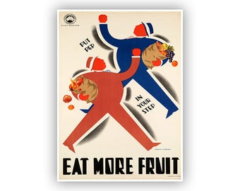 Eat More Fruit, Australian Public Health Poster, Retro Mid Century Kitchen  Art, Vintage