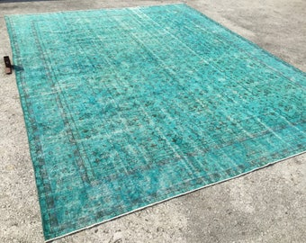 9'6x12'5 feet, turquoize rugs ,overdyed rug ,floor rugs ,distressed rugs,oversize rugs ,overdyed turkish rug,Turkish Rug,Color reform, 5963