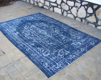 Vintage NAVY BLUE Rug , Turkish UNIQUE Navy Blue Area Rug , 7u00272 X