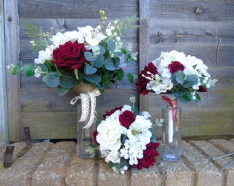 Artificial Bridal bouquet with two Bridesmaids bouquets red and cream with greenary