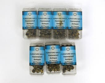 168pcs Furniture Nails / Uphostery Tacks Lot of 7 packs of 24pcs Antique Brass Hammered Round