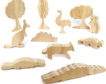 Australian animals set - wooden toys - eco friendly waldorf figures - aussie animals