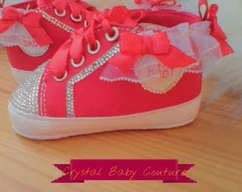 STUNNING Red crystal baby shoes with bows