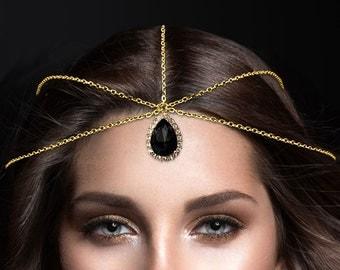 gold black Crystal Statement Indian Matha Patti Tikka Head Chain Jewelry Jewellry Bridal Prom Wedding Bollywood Hijab Bridal Hair Piece