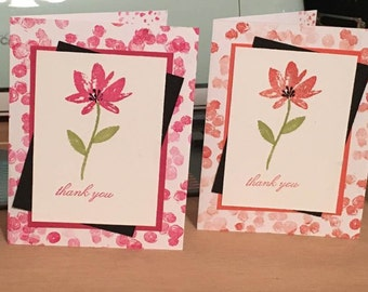 "Set of 4 flower ""Thank You"" cards"