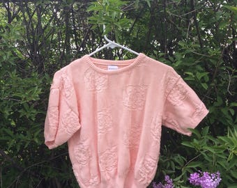 Vintage Short Sleeve Cotton Rose Sweater
