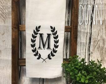 Monogram Kitchen Towel   Tea Towel   Flour Sack Towel   Monogram Laurel Wreath   Personalized Gift