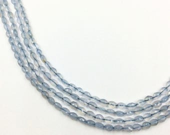 "Blue Chalcedony Faceted Flat Oval Beads 16""  (Multiple sizes)"