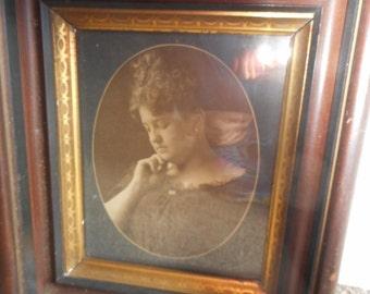 Vintage Original Wooden Shadow Box style frame 8 x 10 Glass