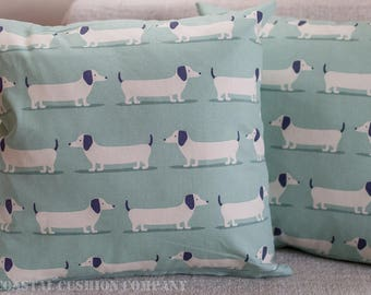Sausage Dog Dachsund Cushion Cover in Duck Egg Blue