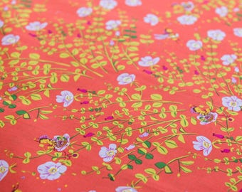 Heather Ross Briar Rose Nanny Bee in Coral sold by the Fat Quarter (FQ)