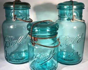 2 Aqua Quart Ball Ideal Canning Jars and 1 Half Quart Ball SureSeal Jar