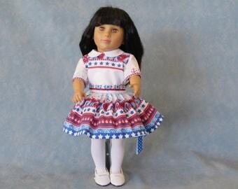 "4th of July Nautical 18"" Doll Dress"