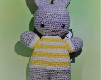 Amigurumi Bunny Rabbit grey yellow