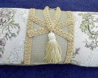 Handmade 'Designer' Decorative Pillow - Floral Tapestry on Cream Decorated