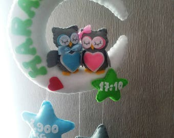 Baby mobile felt Owl, Moon, Baby Boy, Baby girl, Personalised Gift