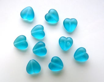 10 Turquoise Glass Heart Beads
