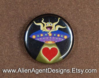 Octocorn Space Ranger, Spaceship Pin, Alien Spaceship, Pinback Button, Spaceship Art, Cute Alien Gift, Alien Abduction Gift, Button Magnet