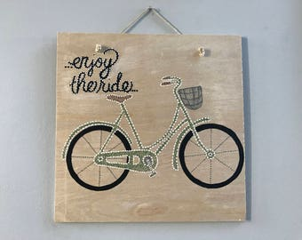 Enjoy the ride bicycle dot painting on wood