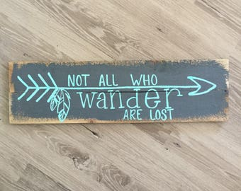Not all who wander are lost reclaimed wooden sign