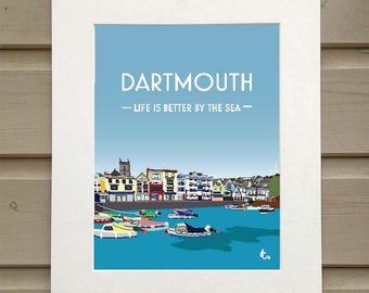 A4 print of Dartmouth Harbour, Devon