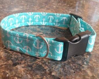 Blue Anchor Adjustable Dog Collar