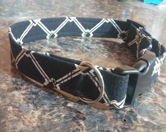 Black White Gold Adjustable Dog Collar