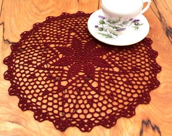 Burgundy Doily ~ Crochet Doily ~ Burgundy Decorations ~ Vintage Style ~ Bedroom Decor ~ Gift for Her ~ Lace Doilies ~ Nightstand Doily