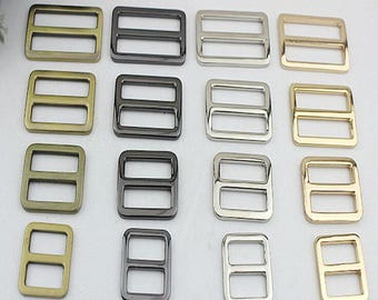10Pcs gold silver brass balck Solid pin buckles purse buckle strap adjuster belt buckle sliders thickness Rectangular Square Flat Rings