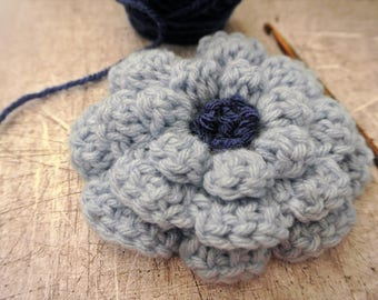 Large Crochet Flower Pale Blue with Navy Blue Center