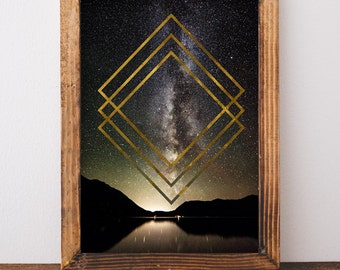 Milky Way - Printable Wall Art - Photography - Print at Home - Geometric Art - Night Sky - Magic - Mountain - Landscape - Gallery Wall