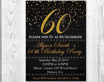 Adult birthday invitation Birthday party 60th birthday invite Surprise birthday printable invitation Adult invitation Adult birthday party