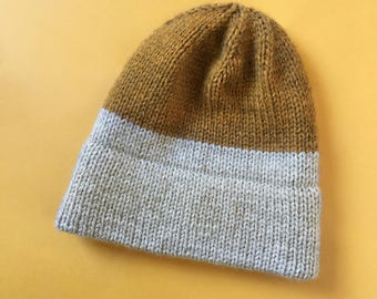 Two Tone Color Block Knit Hat in Yellow and Sand