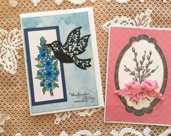 2 Flower Greeting Cards