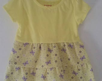 Yellow T-shirt little girls dress with added skirt.
