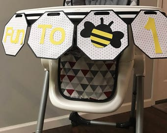 Fun to bee one// first birthday // bumblebee// highchair banner// yellow