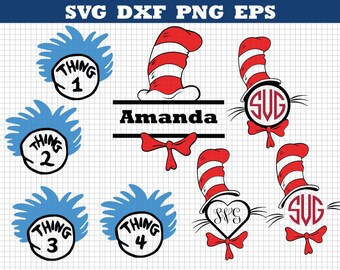 Dr Seuss Svg, Seuss Monogram Svg, Cat In The Hat Svg,Thing one svg,Thing two svg ,Cutting file, Cricut Files, Silhouette Files,Dr seuss