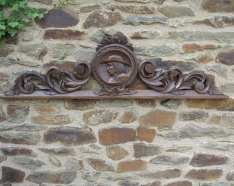 Vintage French Hand carved Oak Breton Pediment