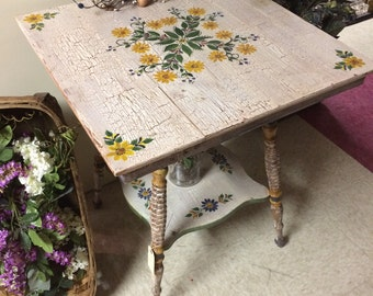Repurposed Handpainted Parlor Table
