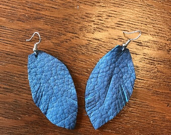 Slate Feathers | leather feather earrings, blue earrings, blue leather earrings, feather earrings, feathers, blue gray feathers