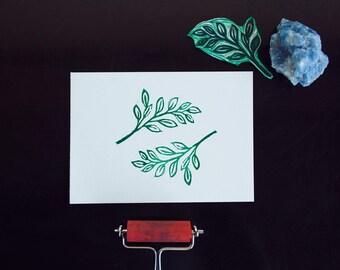 Minimal Leafy Linoprint
