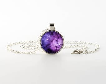 Purple Nebula Galaxy Pendant Necklace