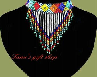 African maasai multicolored beaded ,Statement African jewelry
