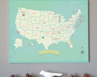 usa wall map my travels personalized usa wall map art print us kid travel