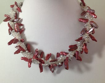 Coral and Pearl Necklace / Kumihimo Necklace / Pink and White