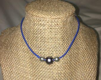 Blue Triple Pearl Choker