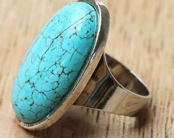 Large Vintage Turquoise Cabochon Ring - Adjustable Turquoise Ring - Oval Cabochon Turquoise Ring - Statement Turquoise Ring