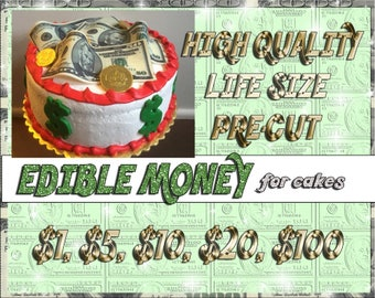 Edible Money! 100 50 20 10 1 dollar bill cake toppers! Fake picture sugar wafer frosting paper images easy pintrest pinterest Hundred