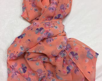 Peach Floral Print Soft Georgette Square Scarf Large