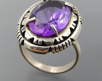 B. Piaso, jr. Navajo handcrafted sterling silver oval amethyst statement ring size 8